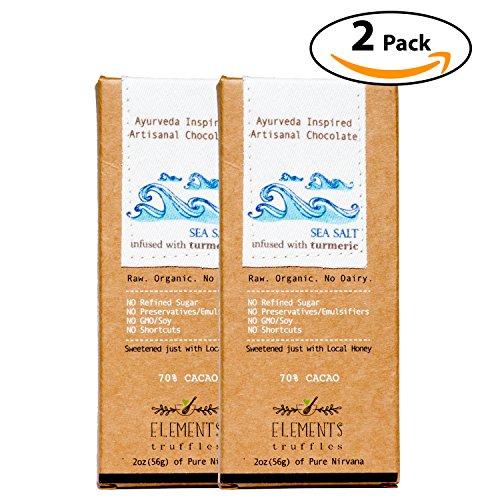 Elements Truffles Sea Salt Bar with Turmeric Infusion - Dairy Free Chocolate Bar - Gluten Free, Non-GMO, Raw & Organic Chocolate Bar - Ayurveda Inspired Healthy Chocolate Bar - Two Pack