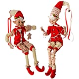 30'' Gingerbread Posable Elf Set of 2 - Peppermint Kitchen 3702379