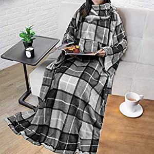 PAVILIA Premium Fleece Blanket with Sleeves for Adult, Women, Men | Warm, Cozy, Extra Soft, Microplush, Functional, Lightweight Wearable Throw from PAVILIA