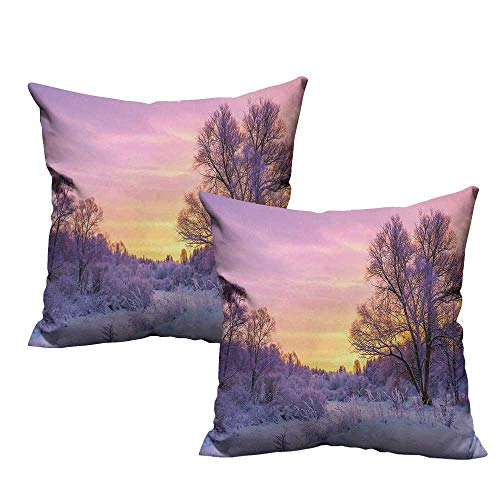 (warmfamily Forest Fashion Pillowcase Winter Landscape with Sunset and Frozen Trees Ice Weather Blizzard Cold Days Image Protect The Waist W17 x L17 Pink White)