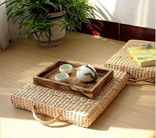 LB Hand Woven Futon Tatami Seat Cushion Portable Meditation Mat,Japanese Style Handcrafted Eco-friendly Breathable Padded Knitted Square Straw Flat Cushion (L:19.7