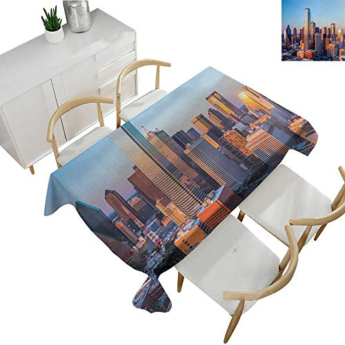 United States,Thanksgiving Tablecloth Dallas Texas City with Blue Sky at Sunset Metropolitan Finance Urban Center Patterned Tablecloth Multicolor 60