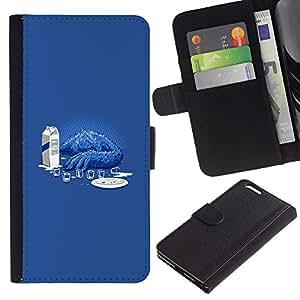 KLONGSHOP // Tirón de la caja Cartera de cuero con ranuras para tarjetas - Cookie Monster Sad divertido - Apple Iphone 6 PLUS 5.5 //