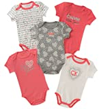 Calvin Klein Baby Girls 5 Pieces Pack Bodysuits, Coral/Rose/Gray/Vanilla, 6-9 Months