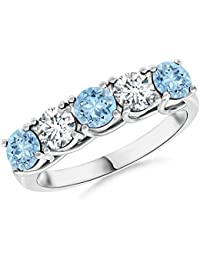 Angara Semi Bezel Dome Aquamarine Ring with Diamond Accents Ef4Pbmz3