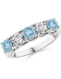 Angara Semi Bezel Dome Aquamarine Ring with Diamond Accents