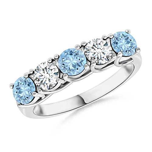 Half Eternity Five Stone Aquamarine and Diamond Wedding Band in 14K White Gold (3.8mm Aquamarine) by Angara.com