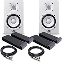 Yamaha HS5 W 5-Inch Powered Studio Monitor, White (Pair) - Free Monitor PAD (2) XLR to 1/4 Cables 20ft ea