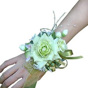 Arlai Bridal Wrist Corsage Wedding Party Artificial Flower Bridesmaid Brooch Wedding Bouquet Decoration Pack of 1 Light Green 2