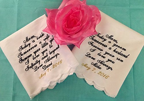 Mother of The Bride, Mother of The Groom Wedding Handkerchief Set by Wedding Tokens ()