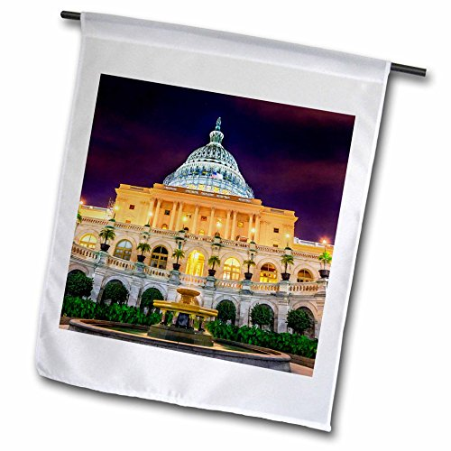 3dRose Danita Delimont - Washington DC - Fountain in front of the US Capitol building, Washington DC - 18 x 27 inch Garden Flag (fl_259161_2) by 3dRose