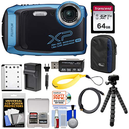 Fujifilm FinePix XP140 Shock & Waterproof Wi-Fi Digital Camera (Sky Blue) with 64GB Card + Battery + Charger + Case + Tripod + Kit (Fuji Digital Camera Case)