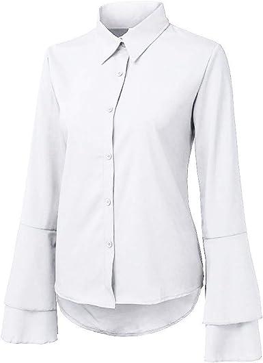 AIFGR Blusa de Las Mujeres Señoras botón de Color Puro Camiseta Cuello Redondo Manga Larga Camisa Chaqueta(Blanco, XL): Amazon.es: Ropa y accesorios
