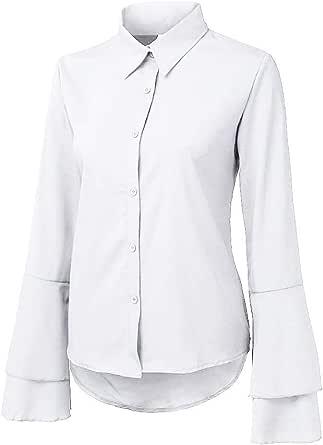 AIFGR Blusa de Las Mujeres Señoras botón de Color Puro ...