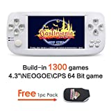 JXD 4.3 inch Screen Dual-core chip Handheld Game Console Build-in 1300 No-repeat Game for NEOGEO\CPS\GBA\GBC\GB\SFC\FC\MD\GG\SMS 64Bit Games Retro Video Game Console Support MP3/4