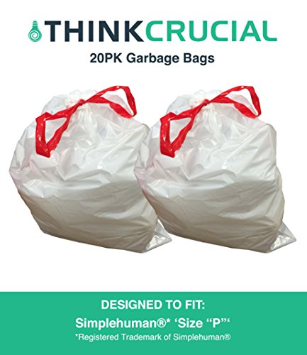 Think Crucial 20PK Durable Garbage Bags Fit Simplehuman Size