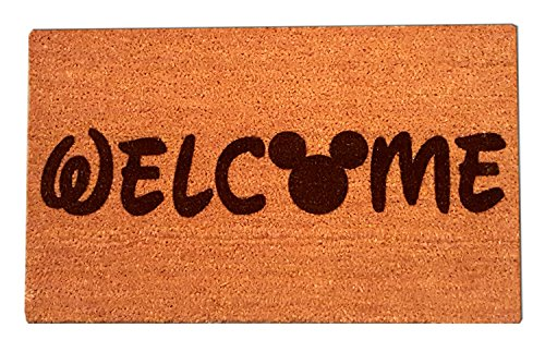"Disney Mickey Mouse Welcome Laser Engraved Coir Fiber Doormat 30"" x 18"" - Home Mickey Mouse"