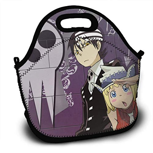 Soul Eater Death The Kid Liz And Patty-Lunch Tote Reusable Insulated Thermal Lunch Bag Small Lunch Box Carry Case Handbags Tote With Zipper For Adults Kids Nurse Teacher Work Outdoor Travel Picnic (Death The Kid And Liz And Patty)