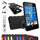 Lumia 650 Case,Mama Mouth Shockproof Heavy Duty Combo Hybrid Rugged Dual Layer Grip Cover with Kickstand For Microsoft Lumia 650 Smartphone(With 4 in 1 Free Gift Packaged),Black