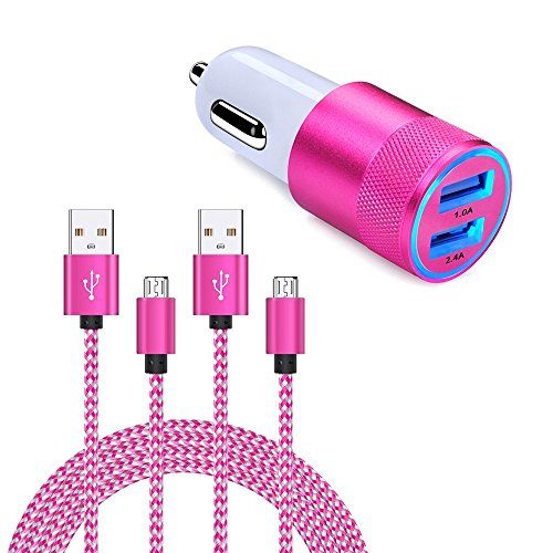 Price comparison product image FiveBox Dual USB Universal Cell Phone Car Charger Port Adapter with 2 Pack Micro USB Charger Cable 6ft Android Charging Cord for Samsung Galaxy S7 S6 Edge J3 J7, Tablet, Kindle, LG G4 G3 K20 Plus-Pink