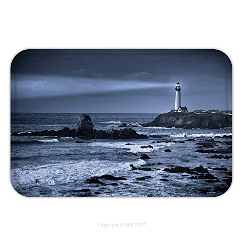 Price comparison product image Flannel Microfiber Non-slip Rubber Backing Soft Absorbent Doormat Mat Rug Carpet Pigeon Point Lighthouse Usa,  California,  Big Sur_155391639 for Indoor / Outdoor / Bathroom / Kitchen / Workstations