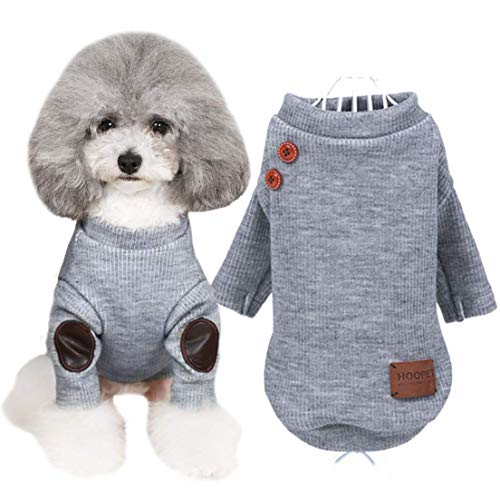 (Hdwk&Hped Knitted Dog Sweater, Stylish Dog Shirt with Vintage Buttons PU Pad for Small Dog Puppy Cat Grey M)