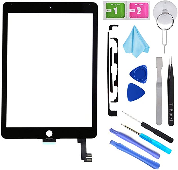 """Black New Digitizer Repair Kit for iPad Air 2 9.7"""" 2nd Gen A1566 A1567 Touch Screen Digitizer Replacement(Without Home Button,Not Include LCD,ONLY Sell for Pro Repair Shop !!!)."""