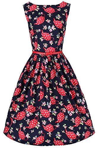 Ro Rox Dahlia 1950's Pin Up Vintage Retro Flare Party Dress - Navy Blue (US -