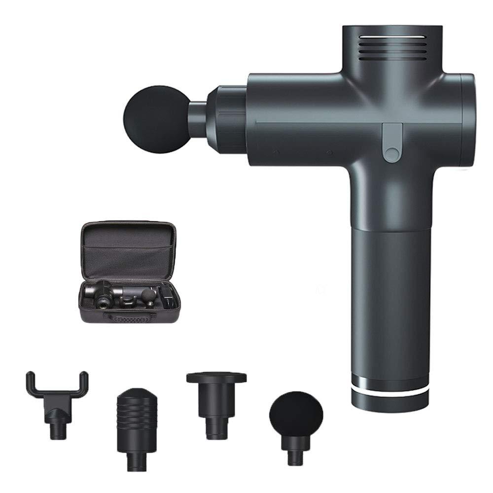 電気マッサージ銃、手持ち型の筋膜マッサージ銃深いティッシュ筋肉マッサージャー療法ボディは4つのマッサージの頭部が付いている筋膜を緩めます,Black B07RRQB16F Black