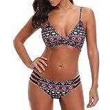 spaghetti strap geometric bikini - Women's Bandage Geometric Print Low Waisted Swimsuit Bathing Suits Bikini (Black, M)