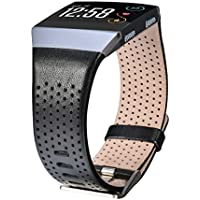 CAGOS Compatible Fitbit Ionic Band Breathable Genuine Leather Band Strap Replacement Accessories Wristband for Fitbit Ionic Women Men (Black, Large(6.29''-8.66''))