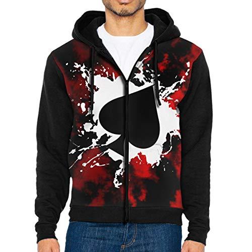Men's Poker Ace of Spades Sportswear Hoodie Full Zip Hooded Sweatshirt Jacket ()