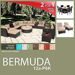 Bermuda 22 Piece Outdoor Wicker Patio Furniture Package BERMUDA-12a-P6K
