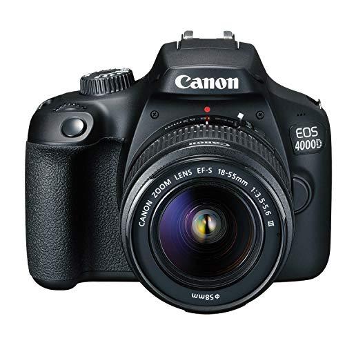 Cámara Canon EOS 4000D DSLR con lente zoom de 18-55 mm f / 3.5-5.6, memoria de 64GB, estuche, trípode y más (paquete de 28 piezas)