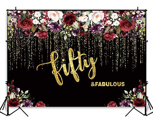 Funnytree 7x5ft Flowers Gold 50th Birthday Party Backdrop Adult Lady Golden Glitter Photography Background Fifty Years Old Age Floral Women Cake Table Decorations Banner Photo Booth Props