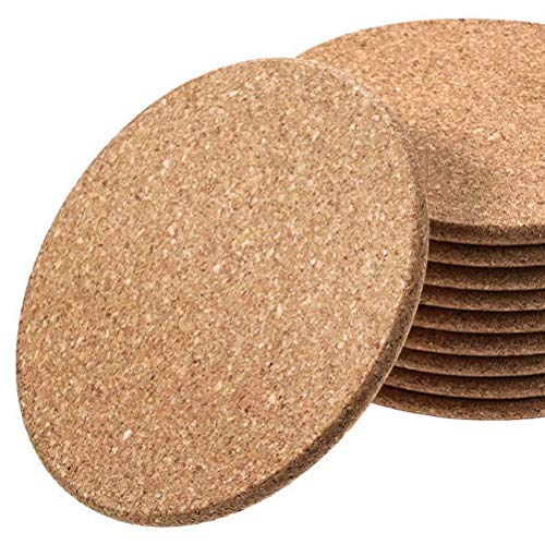 """Premium Cork Coasters for Drinks, with Round Edge, 10pc Set, 4"""" Width, 1/5"""" Thick, Natural Absorbent Cup Mat, Eco-Friendly, Heat-Resistant, Stop Spill, Furniture Protection,"""