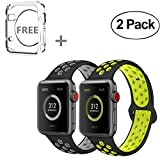 R-fun for Apple Watch Band 42mm, Direct Soft Silicone Replacement Wristband for Apple Watch iwatch Series 3, Series 2, Series 1, Sport, Edition (42MM-black/gray+black/yellow)