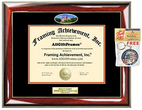 Diploma Frame Auburn University School Campus Photo Custom Graduation Gift Idea Engraved Picture Frames Engraving Plaque Personalized Document Certificate Holder Graduate Him Her ()