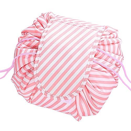 Portable Drawstring Cosmetic Bag, Large Capacity Lazy Travel Makeup Bag, Toiletry Kit Organizer Quick Pack Waterproof Travel Bag Compatible Women Girls (Pink White Stripe)