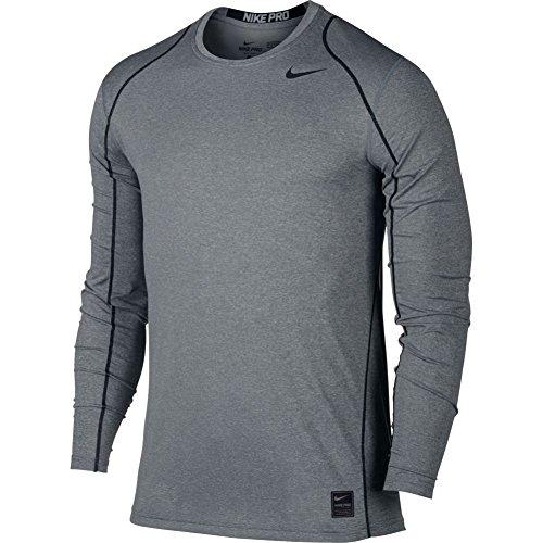 Nike Long Sleeve Body - Nike Mens Pro Cool Long Sleeve Training Shirt Carbon Heather/Black 703100-091 Size Large