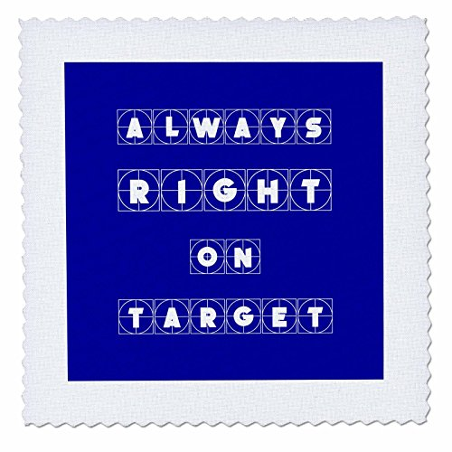 3dRose Alexis Design - Focus - Always Right on Target Cross Hairs Text on Blue Background - 22x22 inch Quilt Square (qs_286136_9)