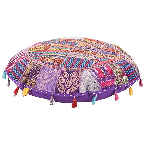 Indian Patch Work Pouf Cover Round Floor Cushion Cover Round Pouf ,Ottaman Cover Home Decorative Pouf Cover,Handmade Floor Living Room Pouffe Cover Embroidered Indian Throw Cotton Foot stool 32'' by MyCrafts