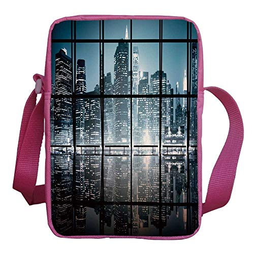 (Modern Decor Stylish Kids Crossbody Bag,Modern New York City Scenery at Night with Skyscrapers Buildings for Girls,9