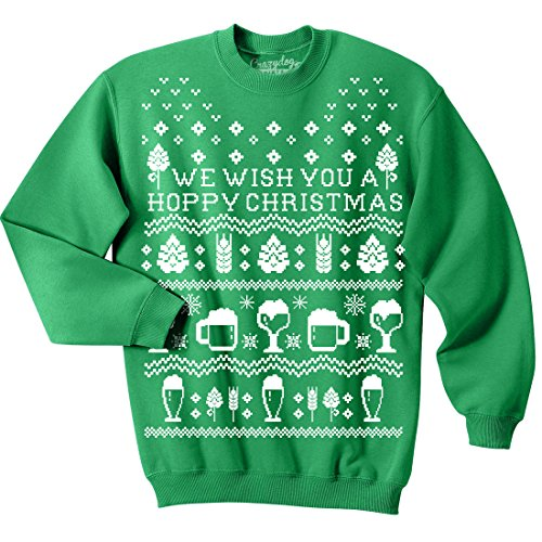 Crazy Dog T-Shirts Unisex Hoppy Christmas Crew Neck Sweatshirt Beer Ugly Christmas Sweater -3XL