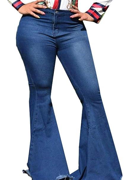 Amazon.com: Cromoncent - Pantalones vaqueros de cintura alta ...