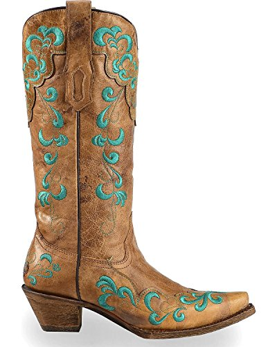 CORRAL Womens Vintage Scroll Overlay Cowgirl Boot Snip Toe - A3211 Tan WGxMJnpgKs