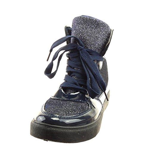 Sopily - Scarpe da Moda Sneaker alti alla caviglia donna lucide verniciato paillette Tacco a blocco 2.5 CM - Blu