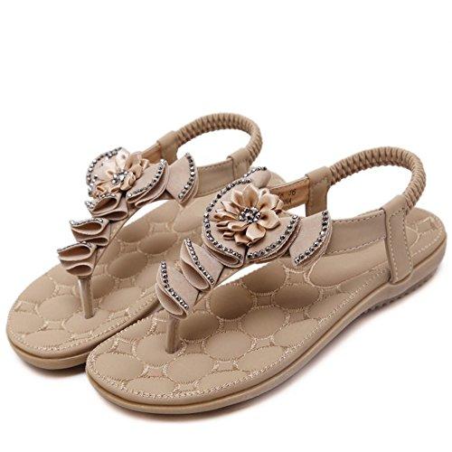 COOLCEPT Mujer Moda Chancletas Slingback Sandalias Elastico Floral Zapatos for Chicas Albaricoque