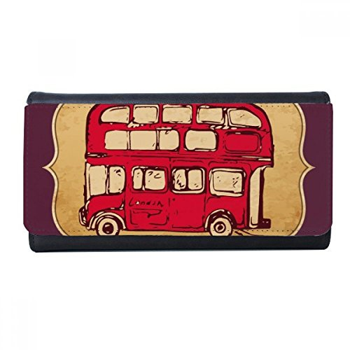 UK London Red Double-decker Bus Stamp Wallet Rectangle Card Multi-Function Purse Gifts