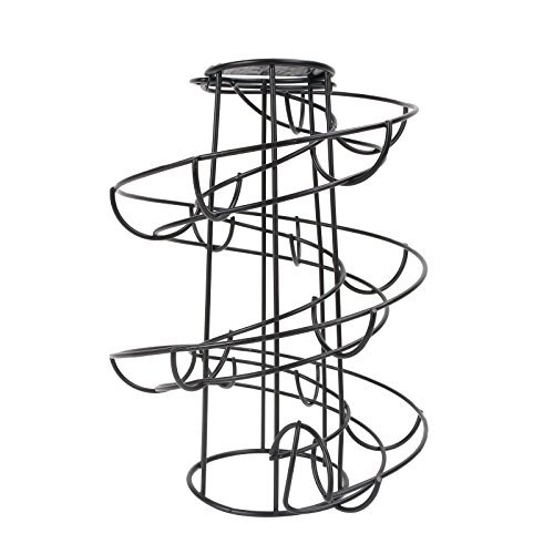 CORNERIA Spiraling Black Metal Freestanding Egg Skelter Dispenser Rack